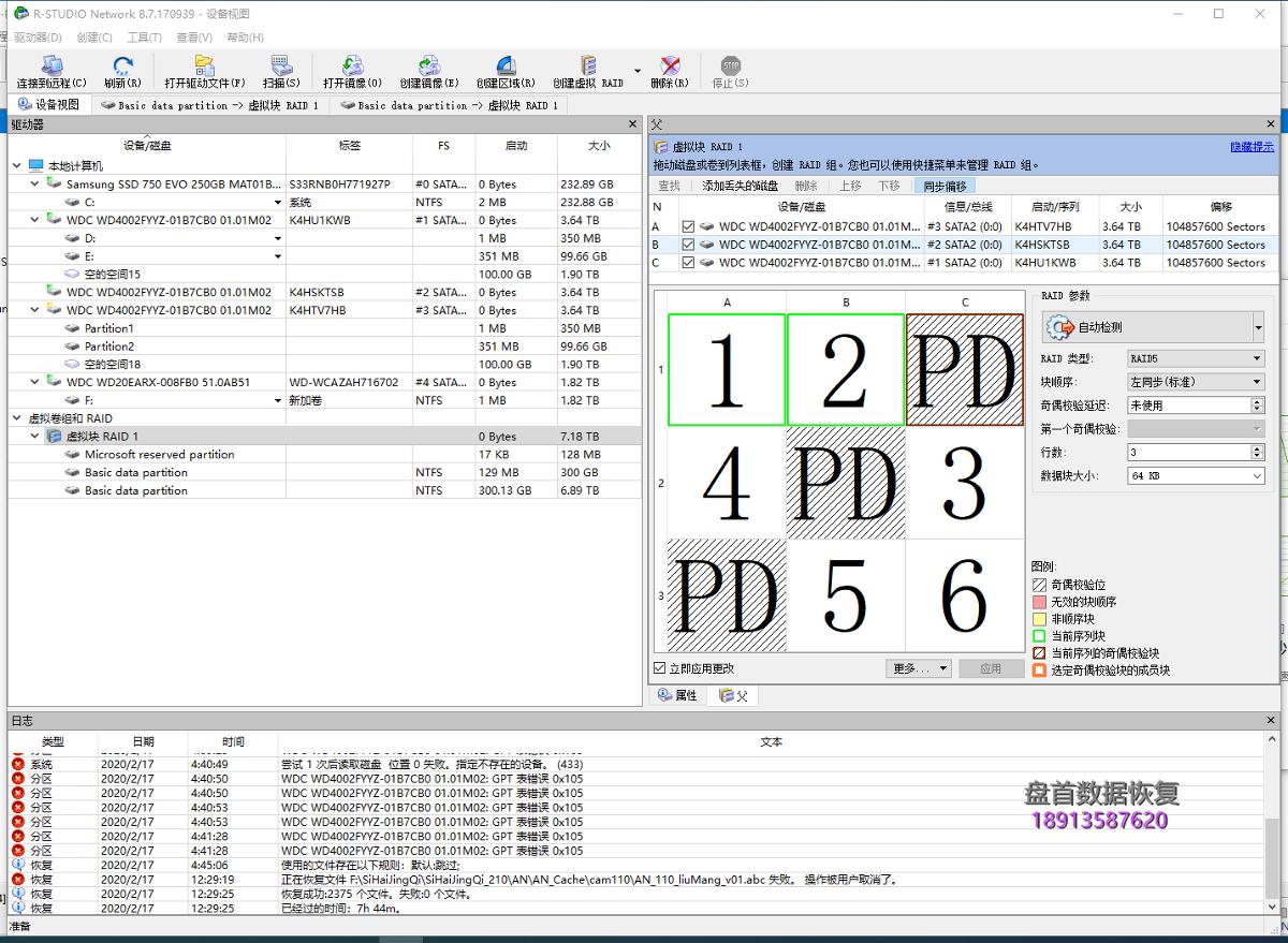 DELL服务器3块4TB硬盘组的RAID5有2块硬盘掉线,连同原操作系统一起恢复成功