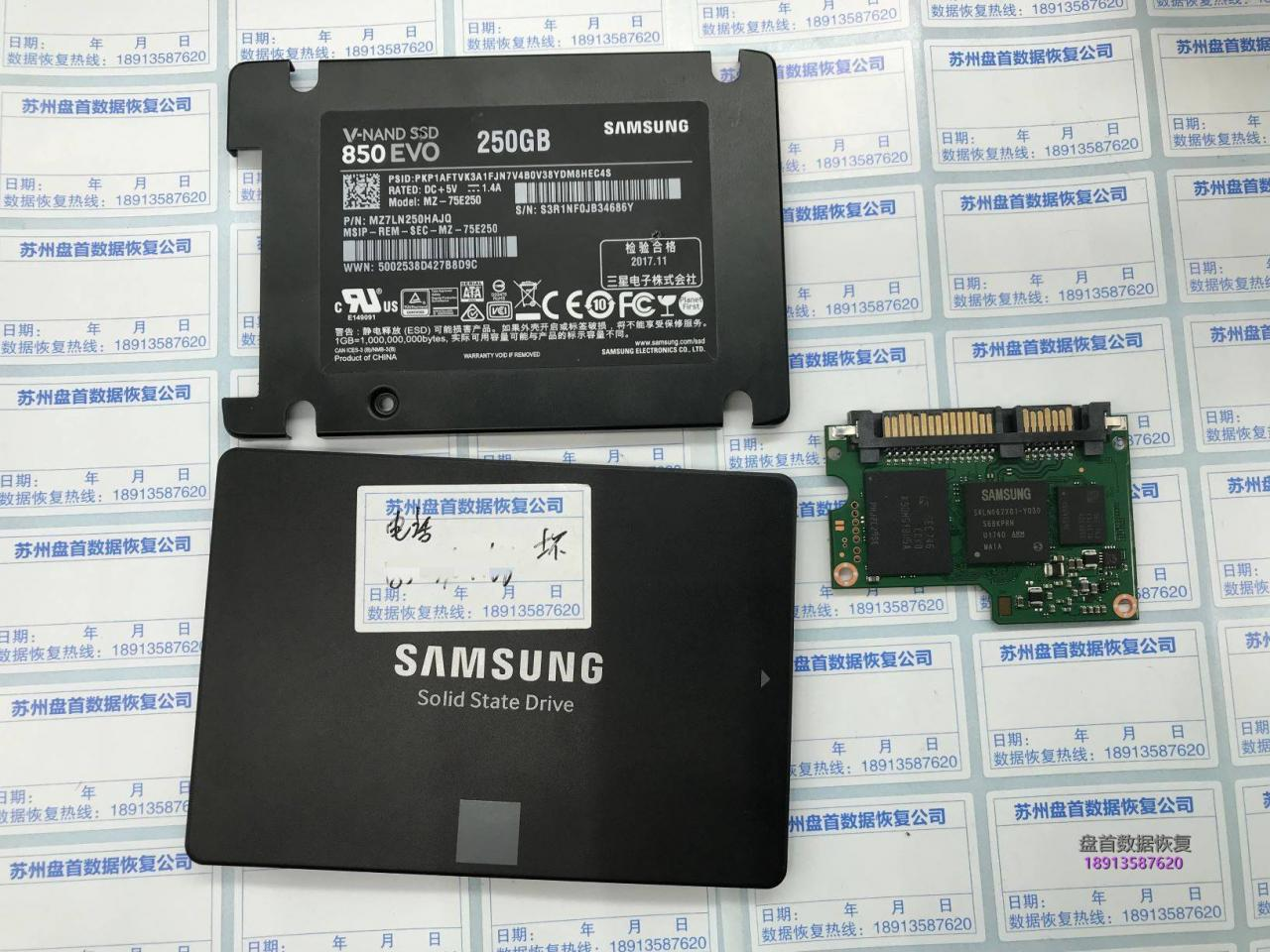 MZ-75E250三星850 EVO主控型号S4LN062X01-Y030主控短路温度过高电流过高芯片级数据恢复成功