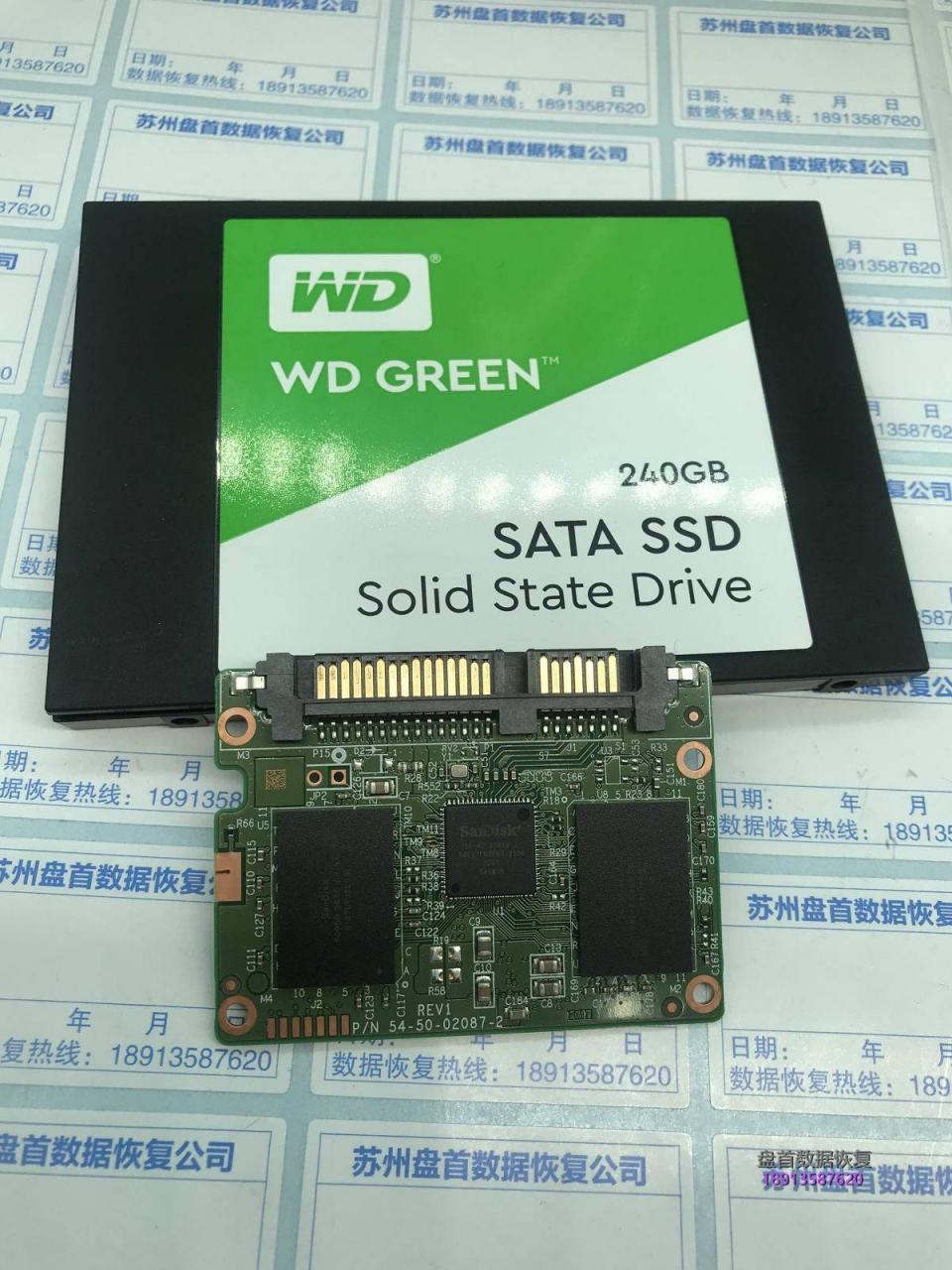 WDS240G2G0A固态硬盘无法识别主控20-82-00469-2就绪忙故障数据恢复成功