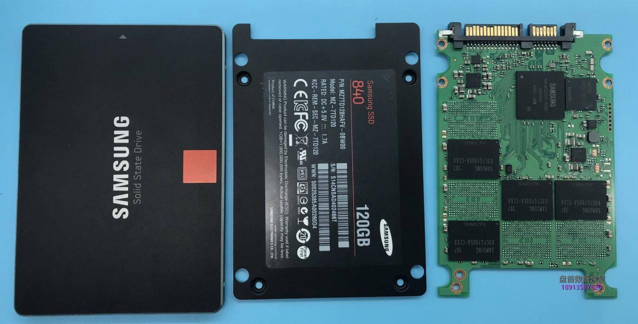 三星840 MZ-7TD120掉盘SSD固态硬盘突然不识别了读不出数据卡LOGO数据恢复成功