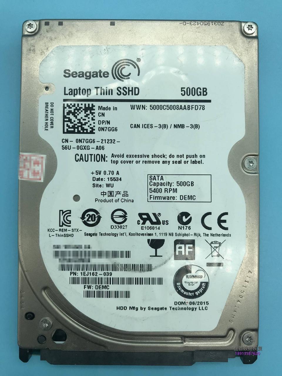 ST500LM000 SSHD固态混合盘NAND损坏导致硬盘不转数据恢复成功