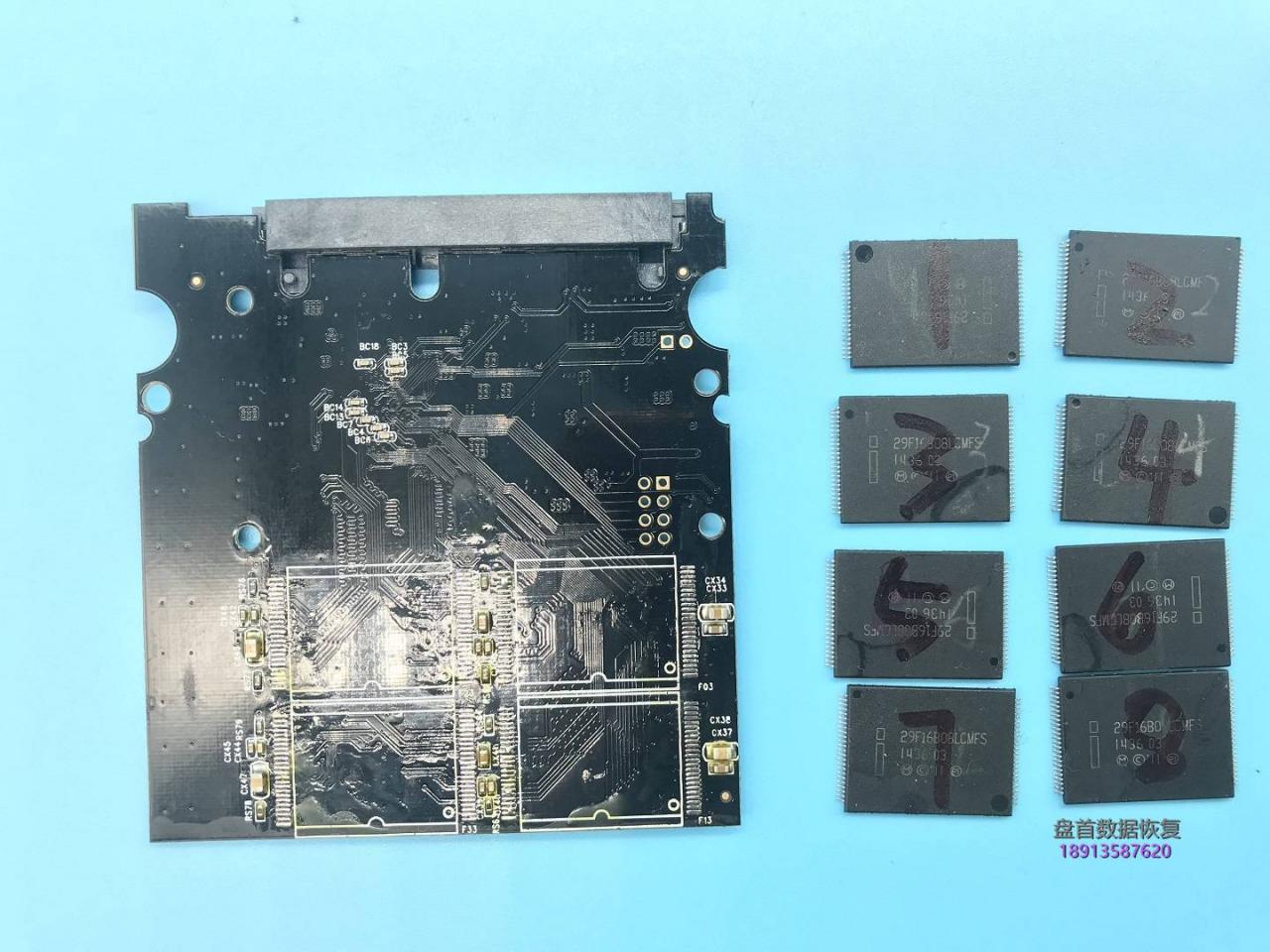 SSD固态硬盘芯片级数据恢复SM2246XT全盘跑黑块二次恢复成功BSY长忙无法识别情况不读盘