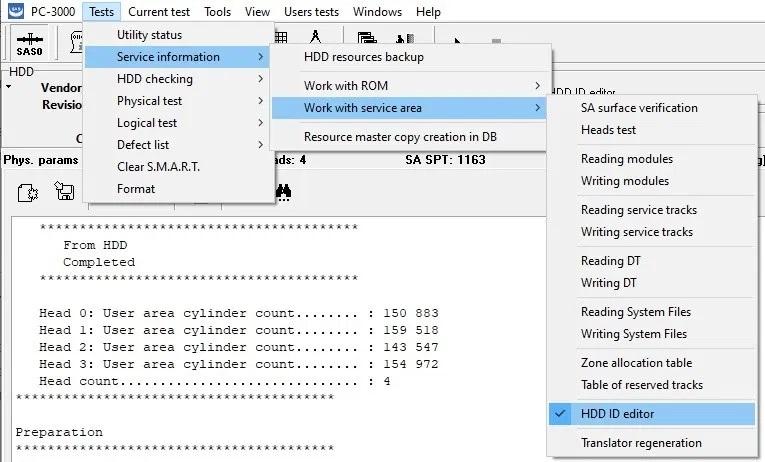 PC-3000 SAS如何更改扇区大小和编辑开机时间